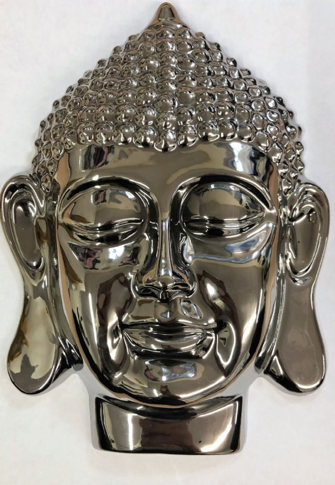 Mirrored 28 cm Thai Buddha Head Home | Garden Wall Art